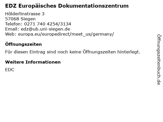 EDZ Europäisches Dokumentationszentrum in Siegen: Adresse und Öffnungszeiten