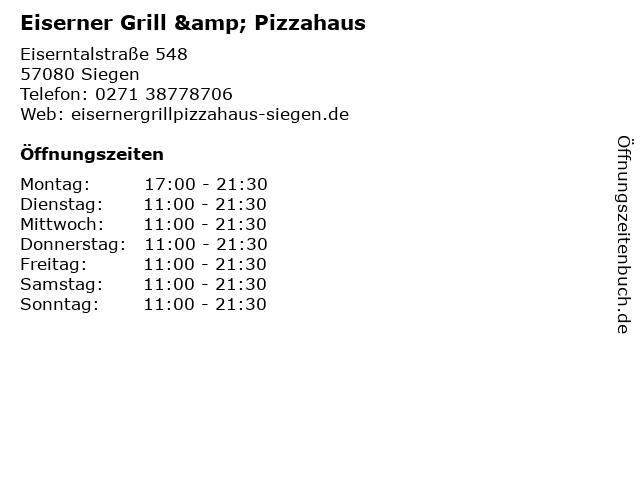 Eiserner Grill & Pizzahaus in Siegen: Adresse und Öffnungszeiten