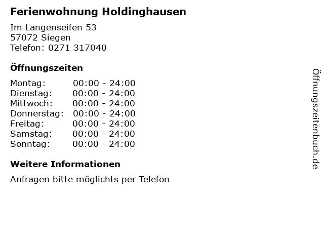 Ferienwohnung Holdinghausen in Siegen: Adresse und Öffnungszeiten