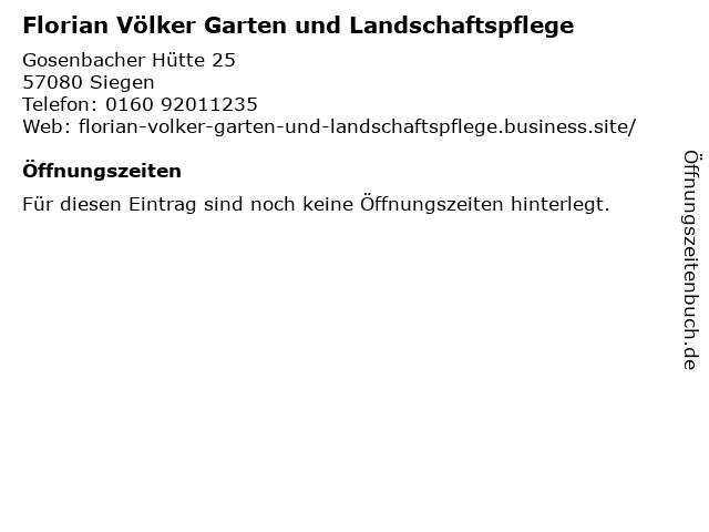 Florian Völker Garten und Landschaftspflege in Siegen: Adresse und Öffnungszeiten