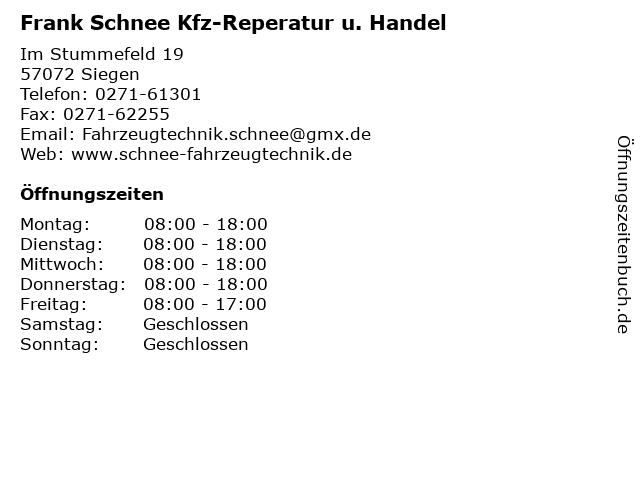 Frank Schnee Kfz-Reperatur u. Handel in Siegen: Adresse und Öffnungszeiten