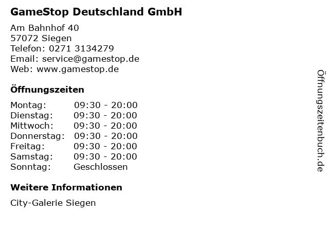GameStop Deutschland GmbH in Siegen: Adresse und Öffnungszeiten