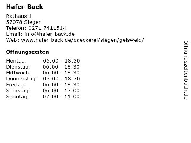 Hafer-Back in Siegen: Adresse und Öffnungszeiten