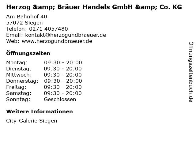 Herzog & Bräuer Handels GmbH & Co. KG in Siegen: Adresse und Öffnungszeiten