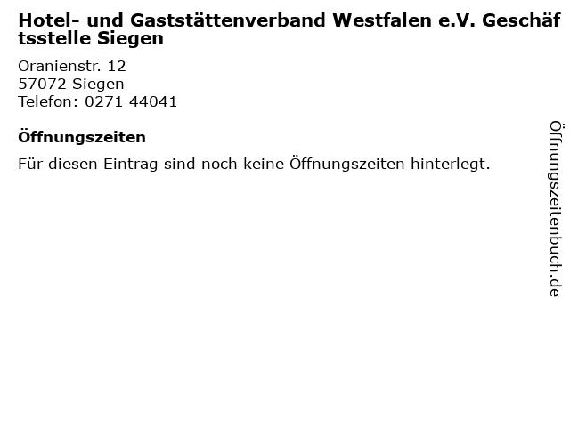 Hotel- und Gaststättenverband Westfalen e.V. Geschäftsstelle Siegen in Siegen: Adresse und Öffnungszeiten