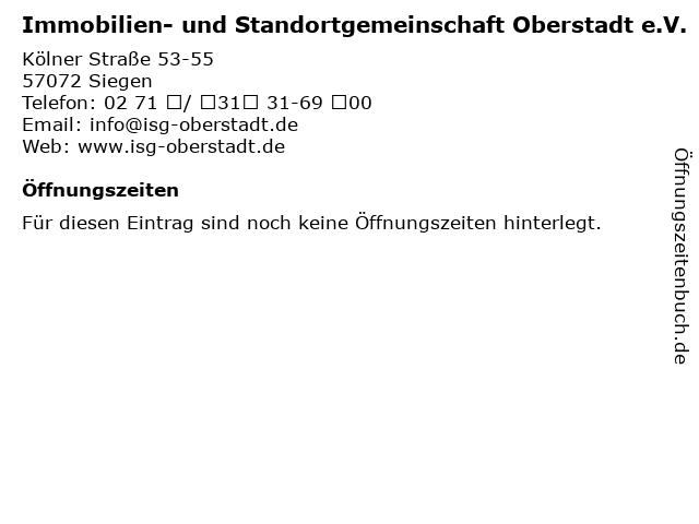 Immobilien- und Standortgemeinschaft Oberstadt e.V. in Siegen: Adresse und Öffnungszeiten