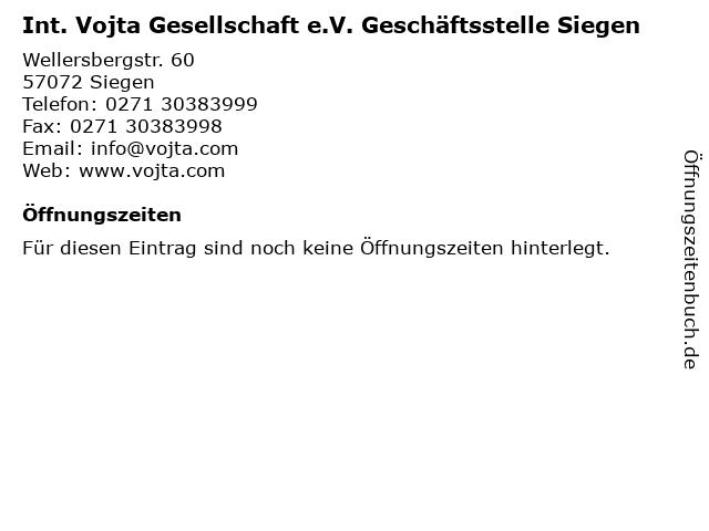 Int. Vojta Gesellschaft e.V. Geschäftsstelle Siegen in Siegen: Adresse und Öffnungszeiten