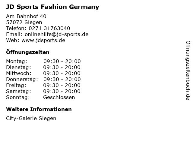 JD Sports Fashion Germany in Siegen: Adresse und Öffnungszeiten