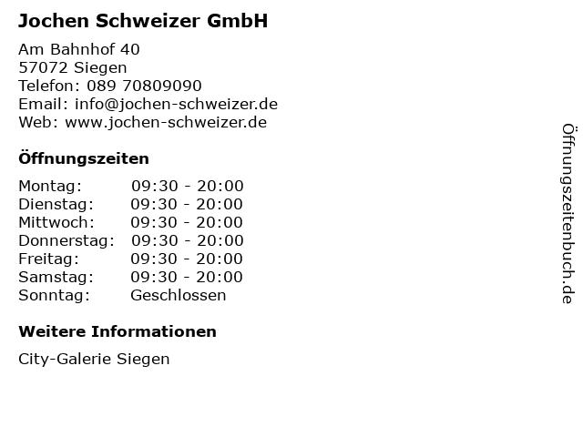 Jochen Schweizer GmbH in Siegen: Adresse und Öffnungszeiten