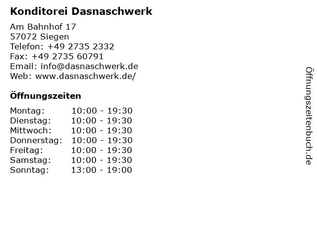 Konditorei Dasnaschwerk in Siegen: Adresse und Öffnungszeiten