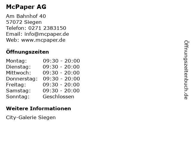 McPaper AG in Siegen: Adresse und Öffnungszeiten
