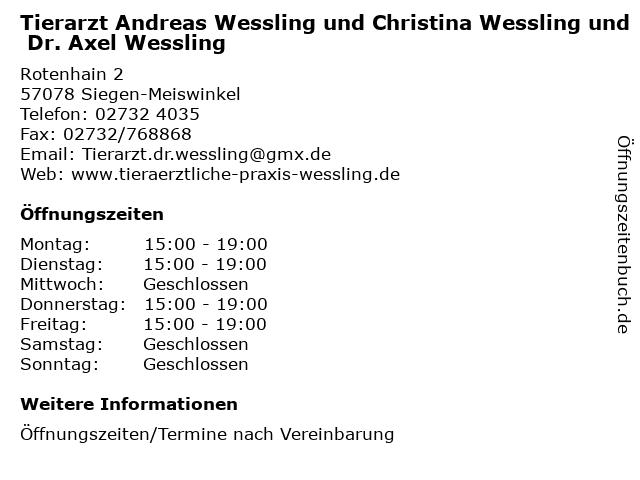Tierarzt Andreas Wessling und Christina Wessling und Dr. Axel Wessling in Siegen-Meiswinkel: Adresse und Öffnungszeiten