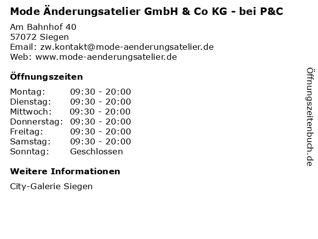 Mode Änderungsatelier GmbH & Co KG - bei P&C in Siegen: Adresse und Öffnungszeiten