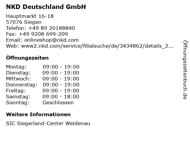 NKD Deutschland GmbH in Siegen: Adresse und Öffnungszeiten