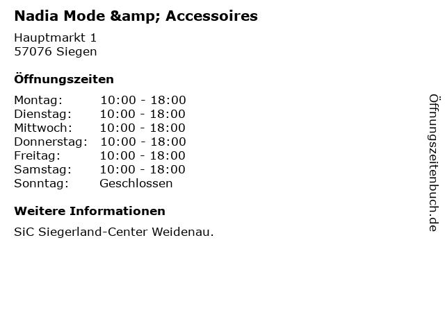 Nadia Mode & Accessoires in Siegen: Adresse und Öffnungszeiten