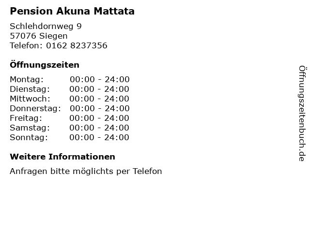 Pension Akuna Mattata in Siegen: Adresse und Öffnungszeiten