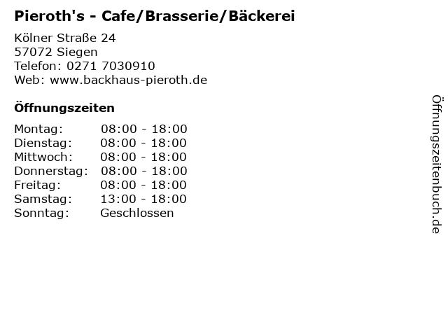 Pieroth's - Cafe/Brasserie/Bäckerei in Siegen: Adresse und Öffnungszeiten