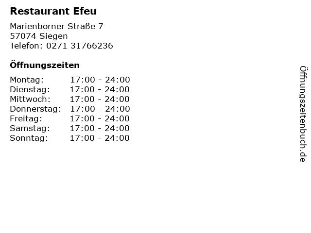 Restaurant Efeu in Siegen: Adresse und Öffnungszeiten