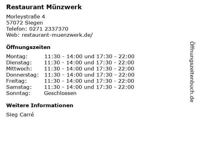 Restaurant Münzwerk in Siegen: Adresse und Öffnungszeiten