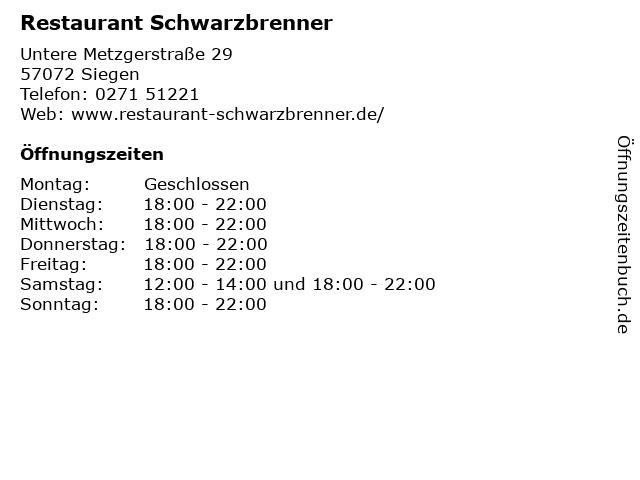 Restaurant Schwarzbrenner in Siegen: Adresse und Öffnungszeiten
