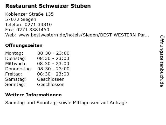 Restaurant Schweizer Stuben in Siegen: Adresse und Öffnungszeiten