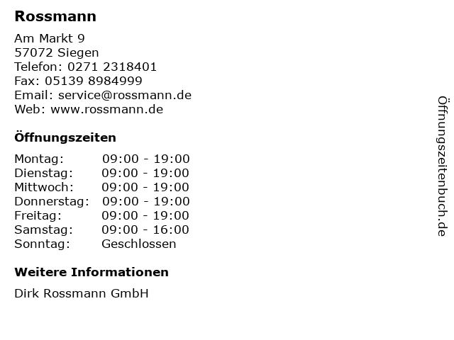Rossmann in Siegen: Adresse und Öffnungszeiten