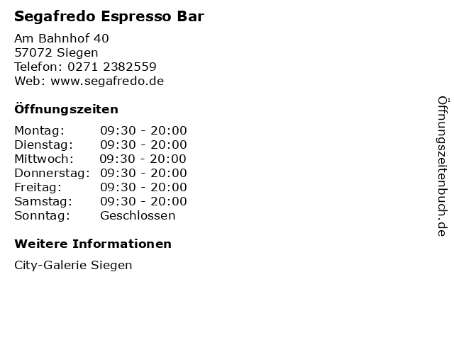 Segafredo Espresso Bar in Siegen: Adresse und Öffnungszeiten
