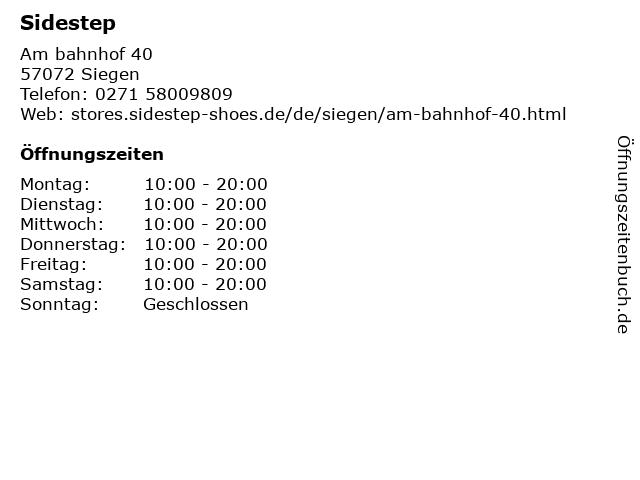 SIDESTEP in Siegen: Adresse und Öffnungszeiten
