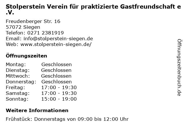 Stolperstein Verein für praktizierte Gastfreundschaft e.V. in Siegen: Adresse und Öffnungszeiten