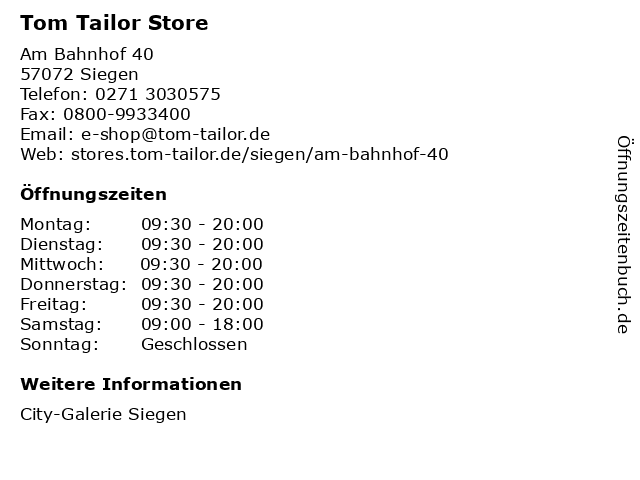 TOM TAILOR Store in Siegen: Adresse und Öffnungszeiten