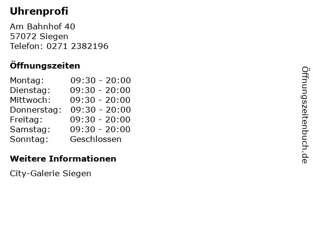 Uhrenprofi in Siegen: Adresse und Öffnungszeiten