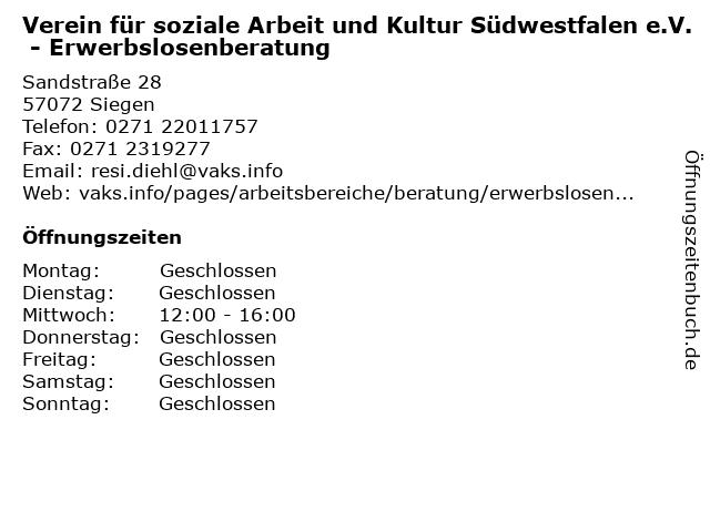 Verein für soziale Arbeit und Kultur Südwestfalen e.V. - Erwerbslosenberatung in Siegen: Adresse und Öffnungszeiten