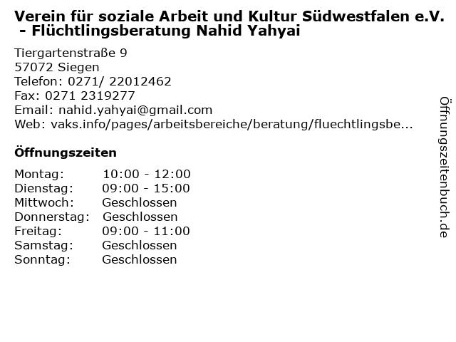 Verein für soziale Arbeit und Kultur Südwestfalen e.V. - Flüchtlingsberatung Nahid Yahyai in Siegen: Adresse und Öffnungszeiten