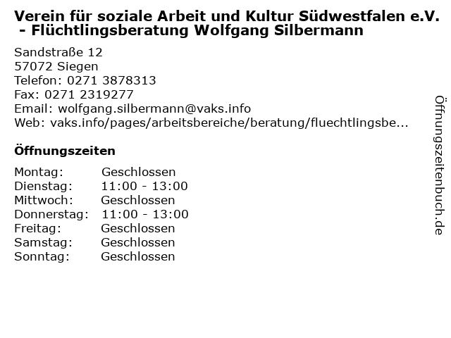 Verein für soziale Arbeit und Kultur Südwestfalen e.V. - Flüchtlingsberatung Wolfgang Silbermann in Siegen: Adresse und Öffnungszeiten