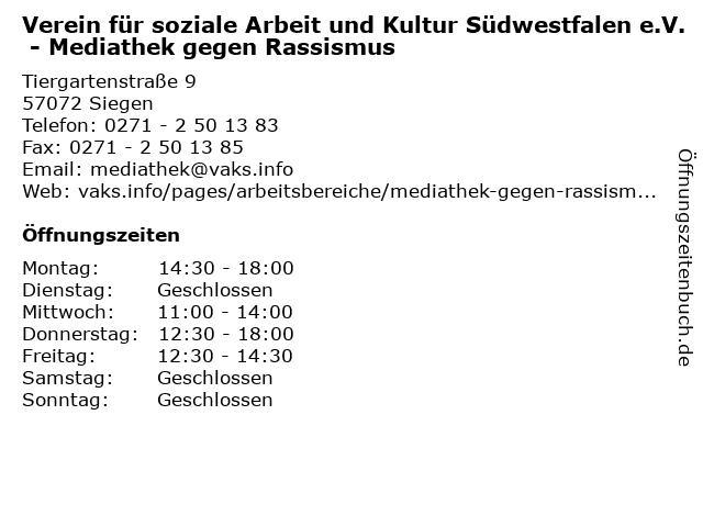 Verein für soziale Arbeit und Kultur Südwestfalen e.V. - Mediathek gegen Rassismus in Siegen: Adresse und Öffnungszeiten