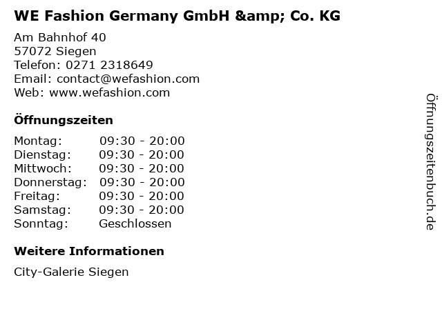WE Fashion Germany GmbH & Co. KG in Siegen: Adresse und Öffnungszeiten