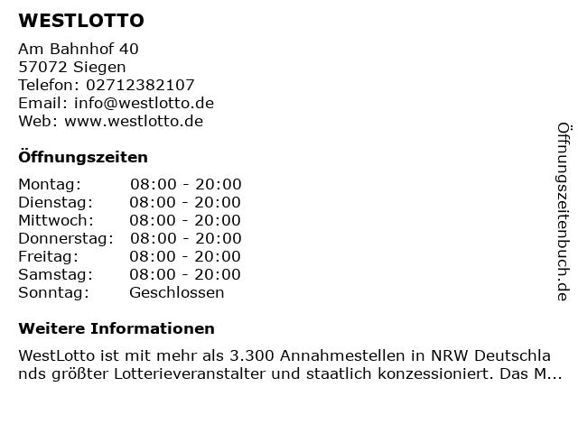 WESTLOTTO in Siegen: Adresse und Öffnungszeiten