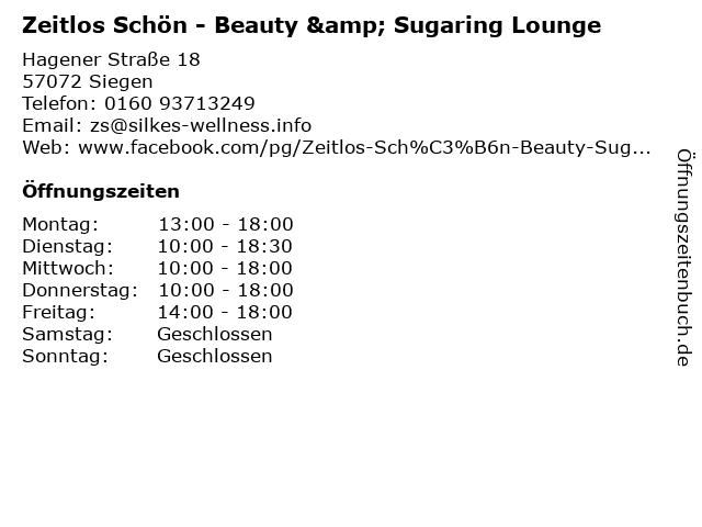 Zeitlos Schön - Beauty & Sugaring Lounge in Siegen: Adresse und Öffnungszeiten