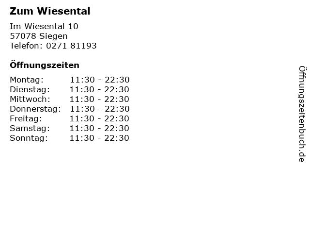 Zum Wiesental in Siegen: Adresse und Öffnungszeiten
