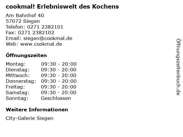 cookmal! Erlebniswelt des Kochens in Siegen: Adresse und Öffnungszeiten