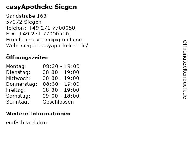 easyApotheke, Inh.: Gabriele Knoche e.K. in Siegen: Adresse und Öffnungszeiten