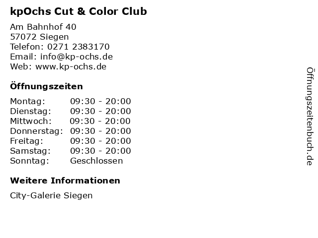 kpOchs Cut & Color Club in Siegen: Adresse und Öffnungszeiten