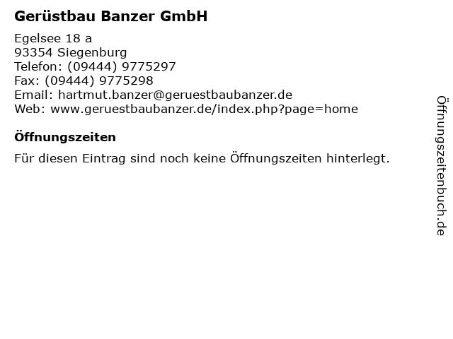 Gerüstbau Banzer GmbH in Siegenburg: Adresse und Öffnungszeiten