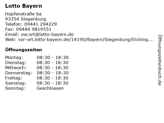 Lotto Bayern in Siegenburg: Adresse und Öffnungszeiten
