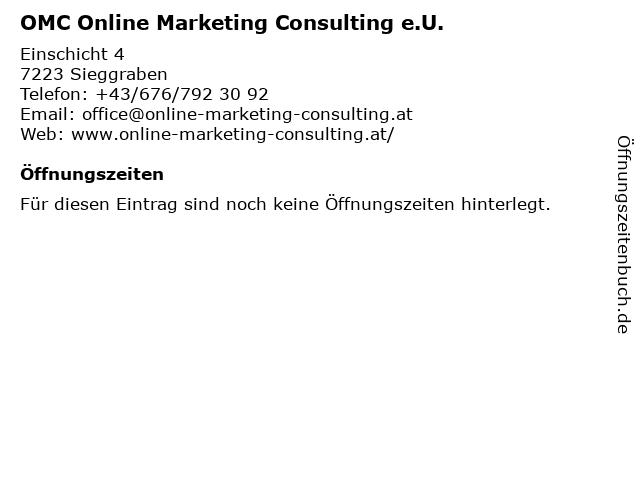 OMC Online Marketing Consulting e.U. in Sieggraben: Adresse und Öffnungszeiten
