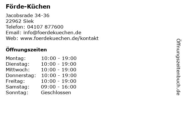 ᐅ Offnungszeiten Forde Kuchen Jacobsrade 34 36 In Siek