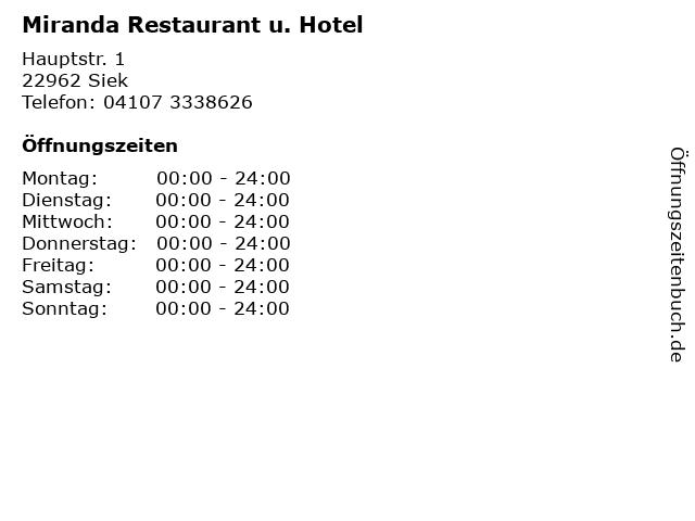 Miranda Restaurant u. Hotel in Siek: Adresse und Öffnungszeiten