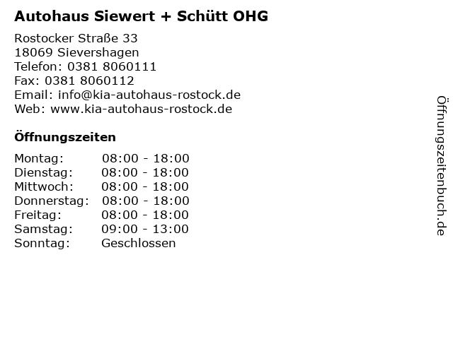 Autohaus Siewert + Schütt OHG in Sievershagen: Adresse und Öffnungszeiten