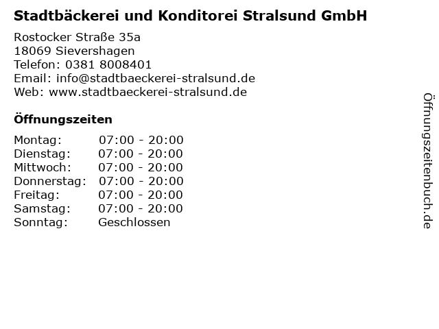 Stadtbäckerei und Konditorei Stralsund GmbH in Sievershagen: Adresse und Öffnungszeiten