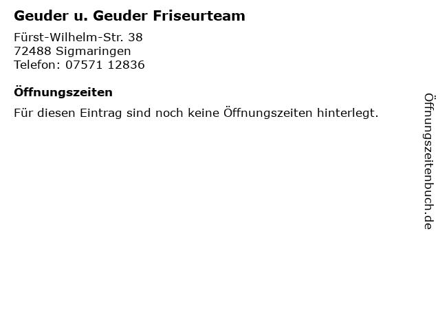 Geuder u. Geuder Friseurteam in Sigmaringen: Adresse und Öffnungszeiten